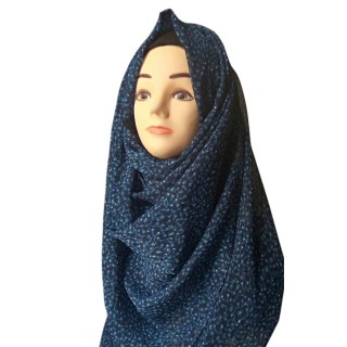 Mariam hijab - Black and blue printed in Chiffon fabric